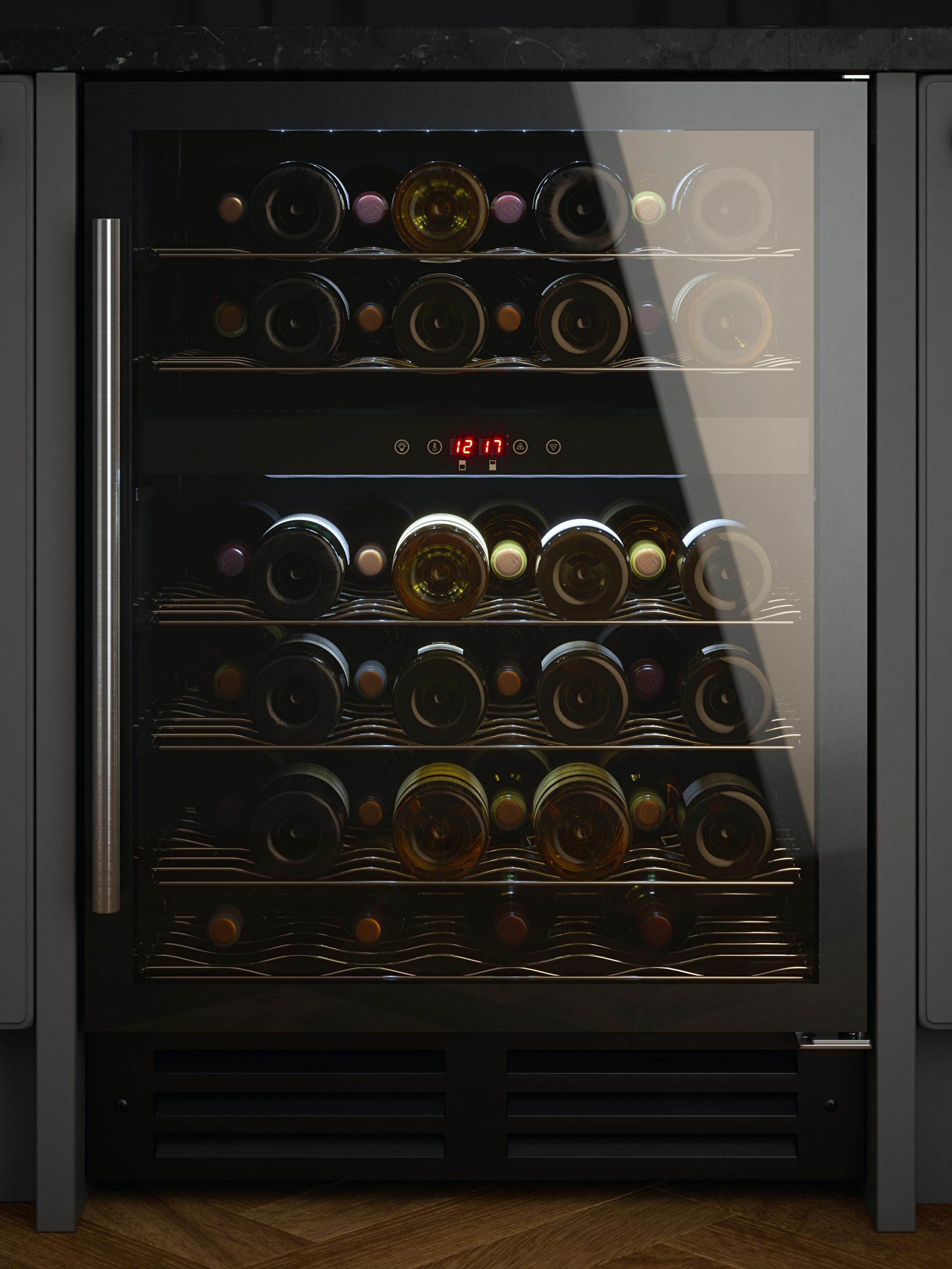 Innocenti 60cm Black Glass Dual Zone Wine  Cooler